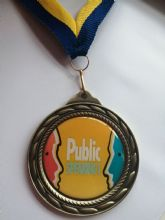 Custom Made Unique 70mm Medal with Personalised Centre including ribbon and engraving